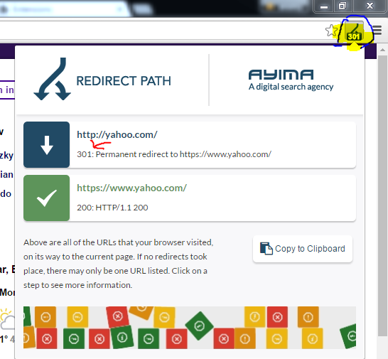 displays the redirect status of a page
