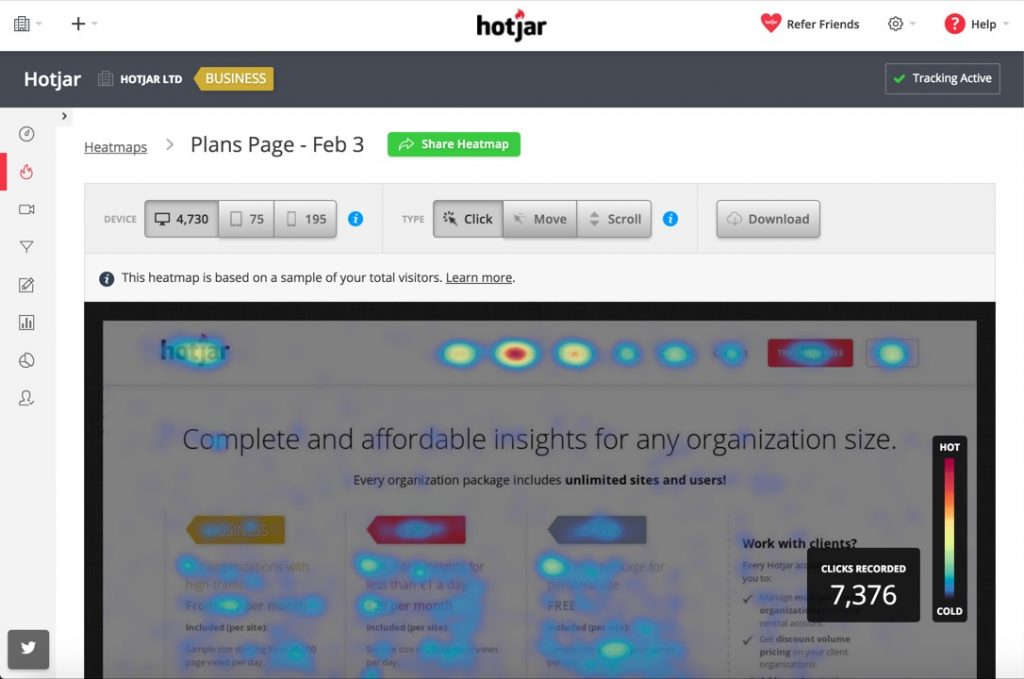 hotjar heatmap displaying clicks and scroll data on a website landing page