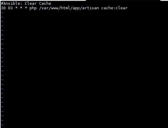 result of Ansible cron module writing to the crontab of the user root